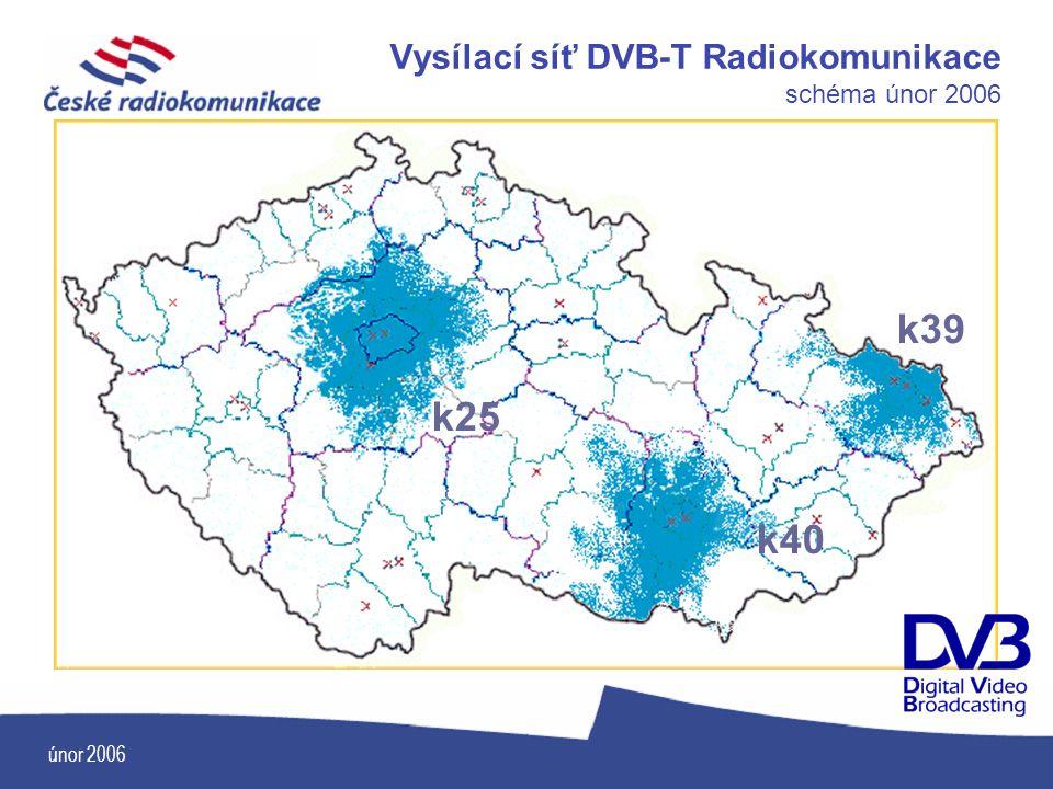 Vysílací síť DVB-T Radiokomunikace schéma únor 2006