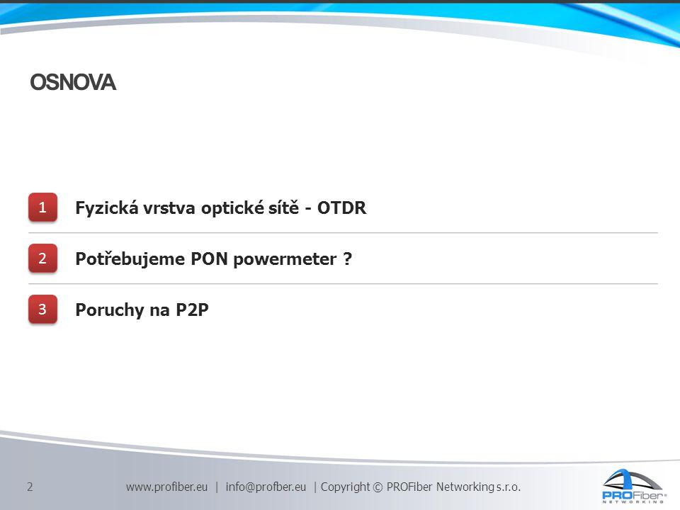 OSNOVA 1 Fyzická vrstva optické sítě - OTDR 2