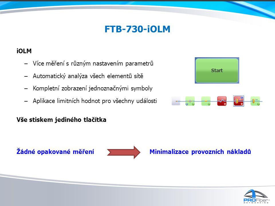 FTB-730-iOLM iOLM Více měření s různým nastavením parametrů