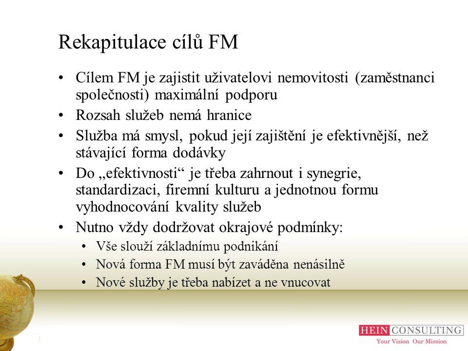 Rekapitulace cílů FM Cílem FM je zajistit uživatelovi nemovitosti (zaměstnanci společnosti) maximální podporu.