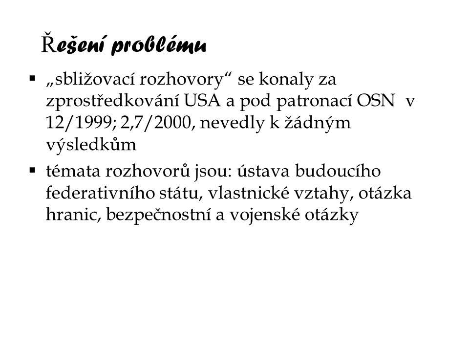 """Řešení problému """"sbližovací rozhovory se konaly za zprostředkování USA a pod patronací OSN v 12/1999; 2,7/2000, nevedly k žádným výsledkům."""