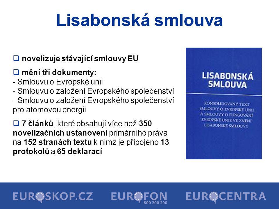 Lisabonská smlouva novelizuje stávající smlouvy EU