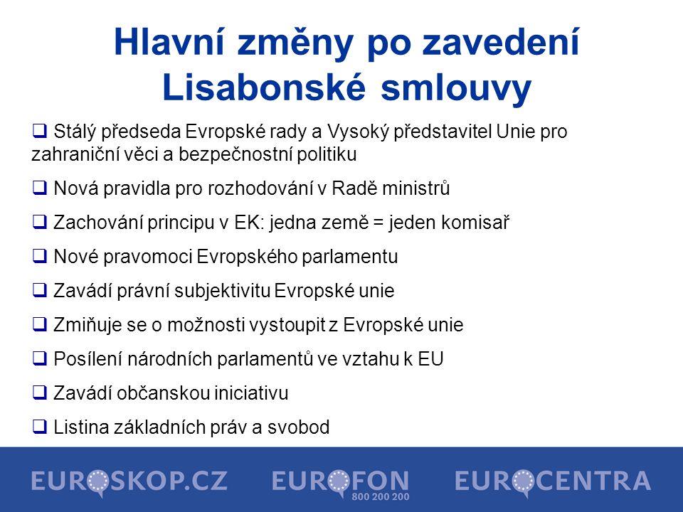 Hlavní změny po zavedení Lisabonské smlouvy