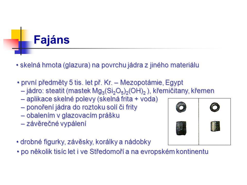 Fajáns skelná hmota (glazura) na povrchu jádra z jiného materiálu