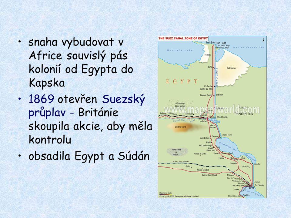 snaha vybudovat v Africe souvislý pás kolonií od Egypta do Kapska