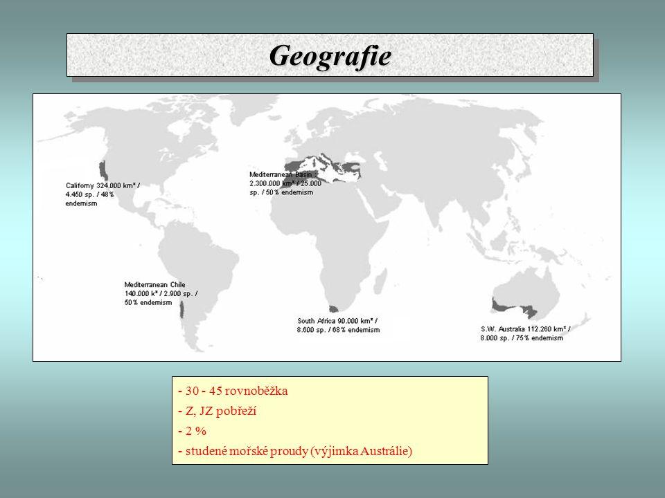 Geografie - 30 - 45 rovnoběžka - Z, JZ pobřeží - 2 %