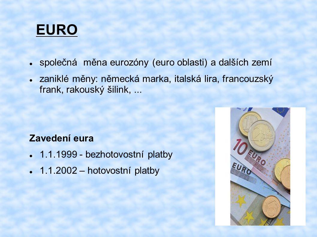 EURO společná měna eurozóny (euro oblasti) a dalších zemí