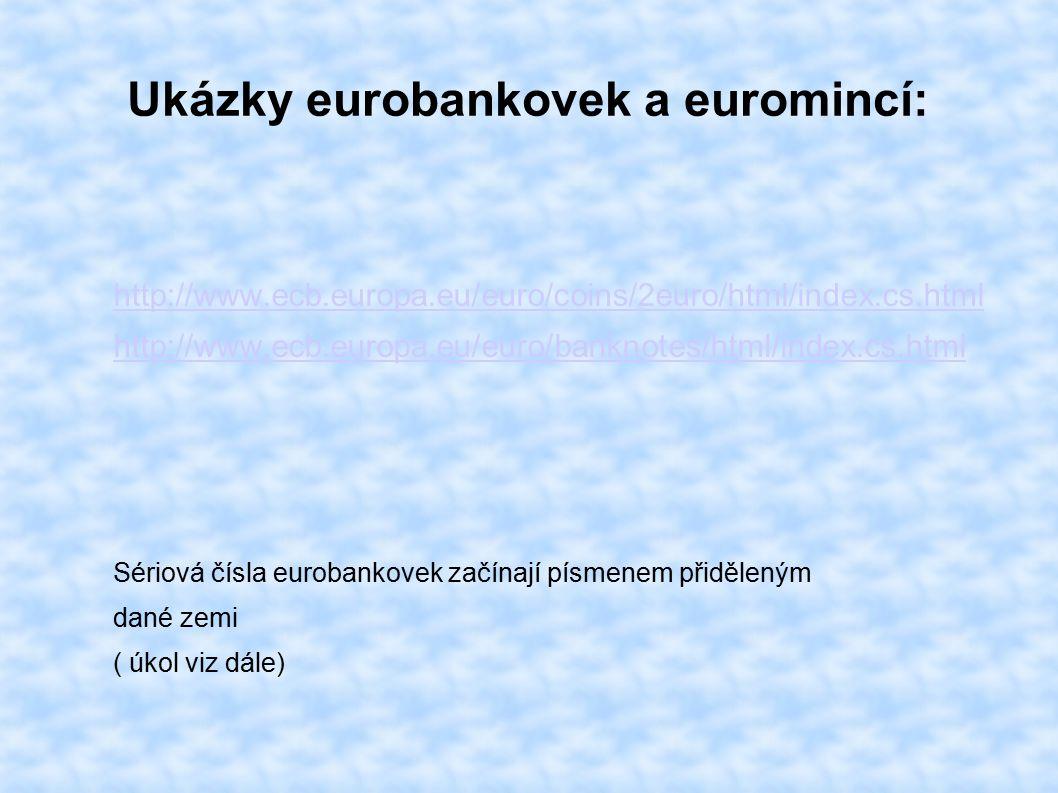 Ukázky eurobankovek a euromincí: