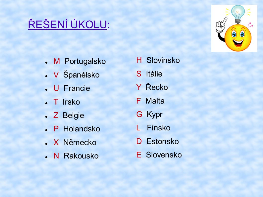 ŘEŠENÍ ÚKOLU: H Slovinsko M Portugalsko S Itálie V Španělsko Y Řecko