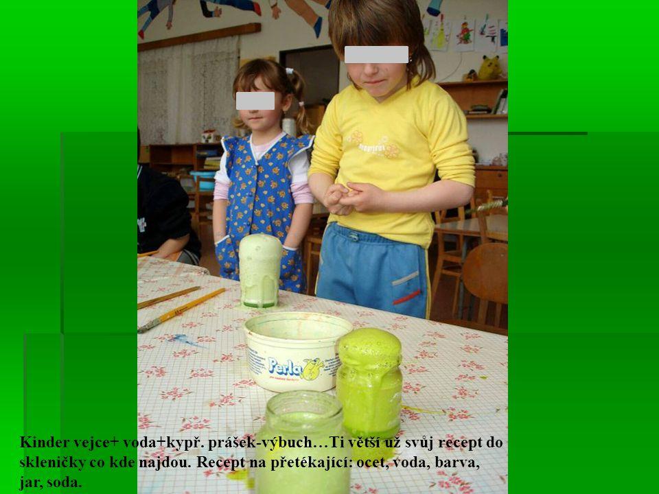 Kinder vejce+ voda+kypř