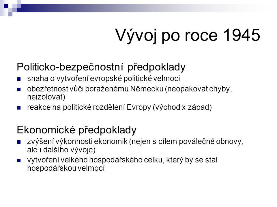Vývoj po roce 1945 Politicko-bezpečnostní předpoklady