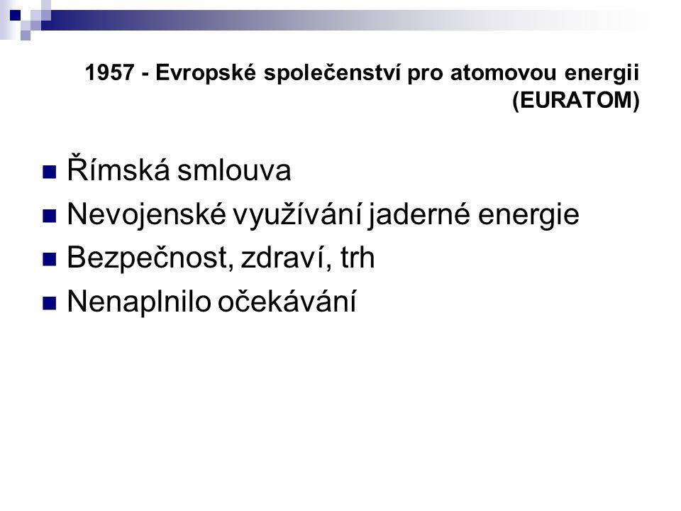 1957 - Evropské společenství pro atomovou energii (EURATOM)