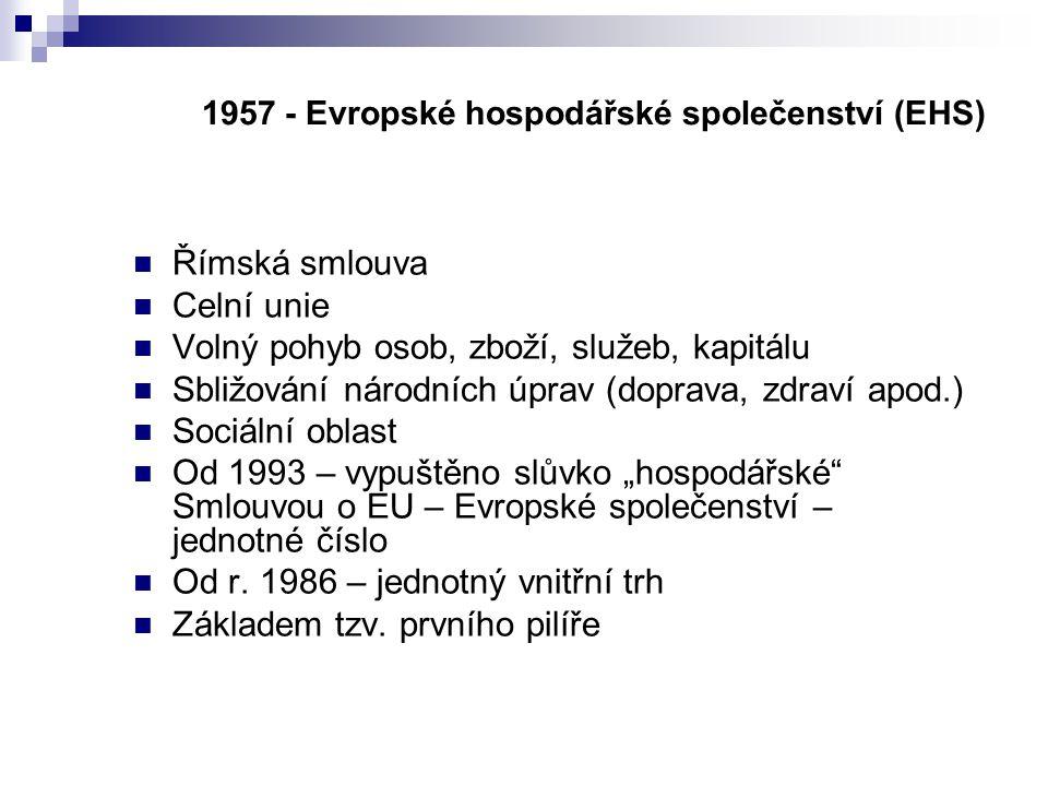 1957 - Evropské hospodářské společenství (EHS)