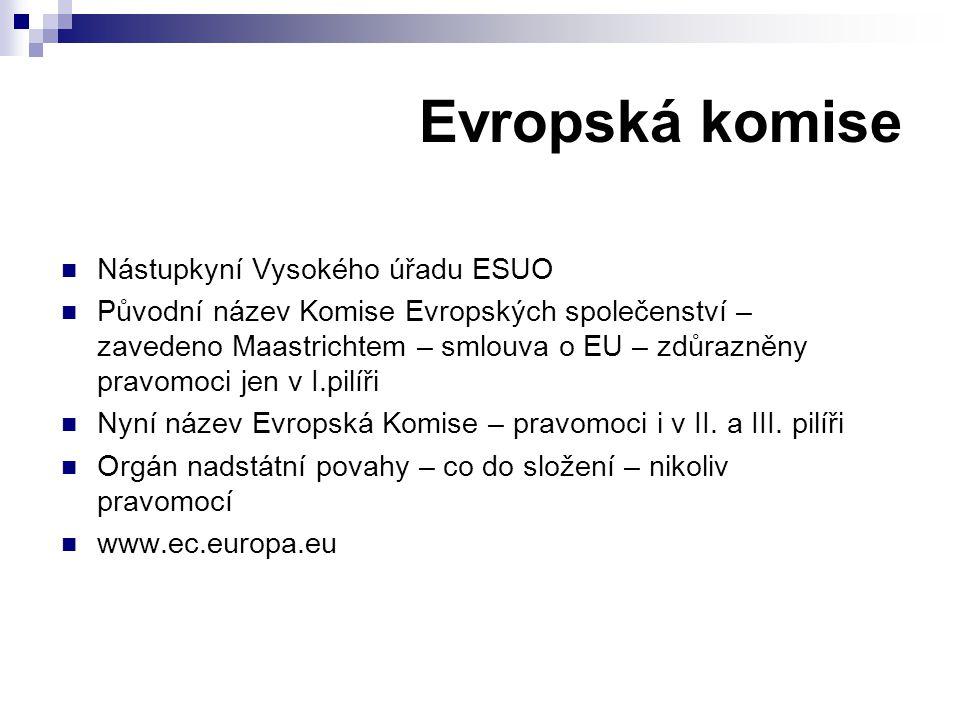 Evropská komise Nástupkyní Vysokého úřadu ESUO