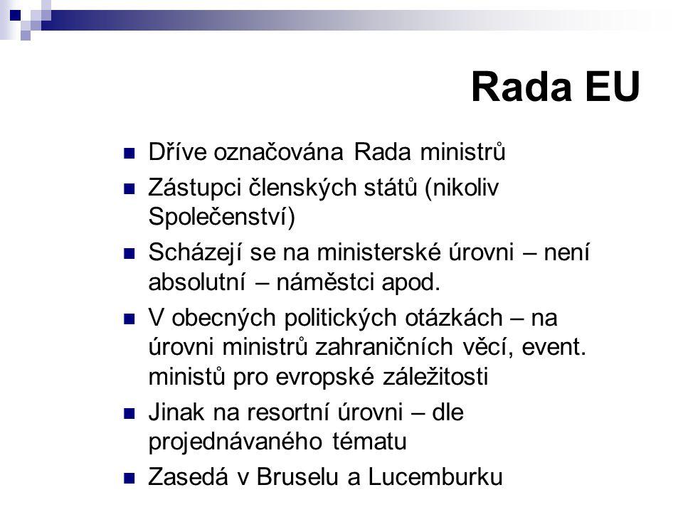 Rada EU Dříve označována Rada ministrů