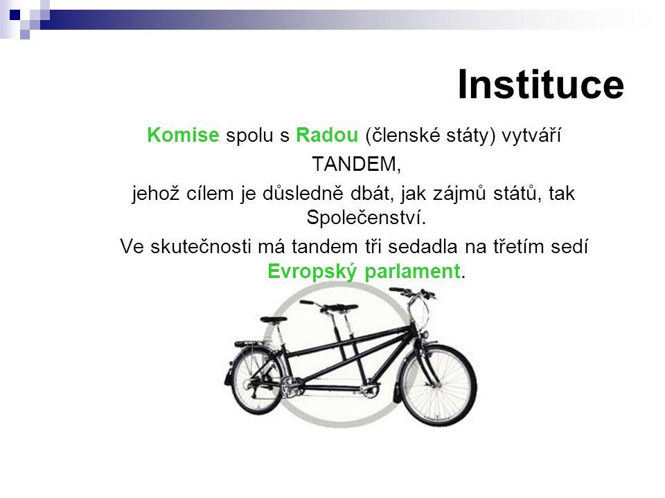 Instituce Komise spolu s Radou (členské státy) vytváří TANDEM,