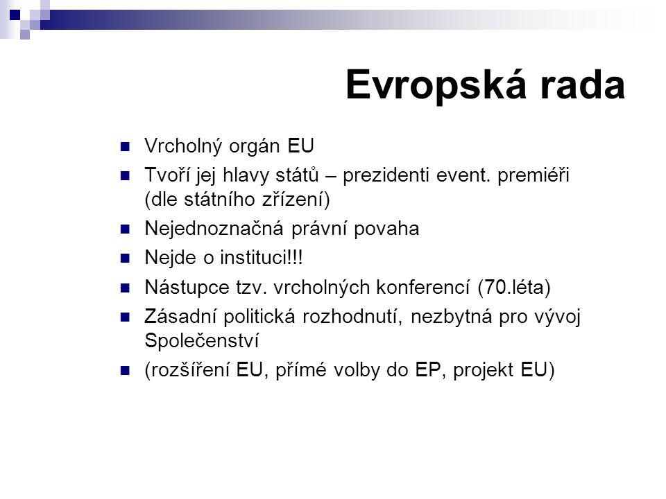 Evropská rada Vrcholný orgán EU
