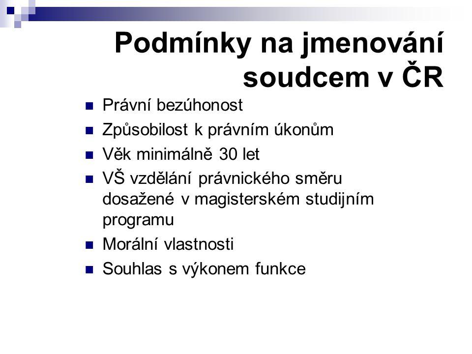 Podmínky na jmenování soudcem v ČR