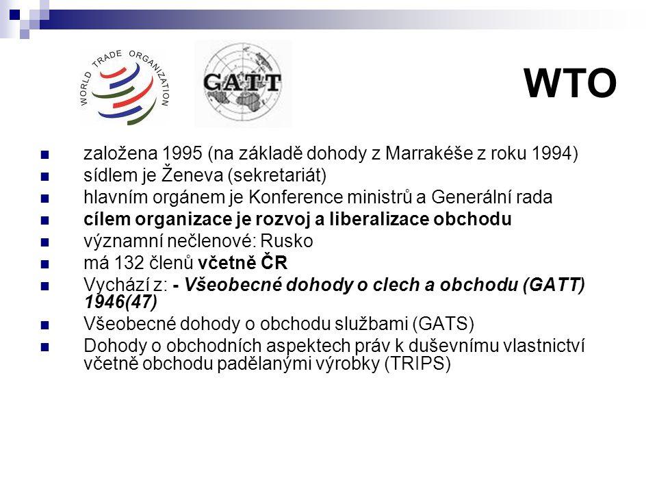 WTO založena 1995 (na základě dohody z Marrakéše z roku 1994)