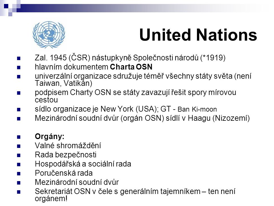 United Nations Zal. 1945 (ČSR) nástupkyně Společnosti národů (*1919)