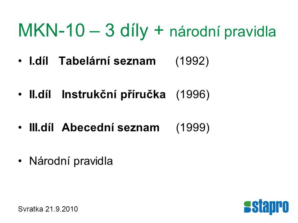 MKN-10 – 3 díly + národní pravidla