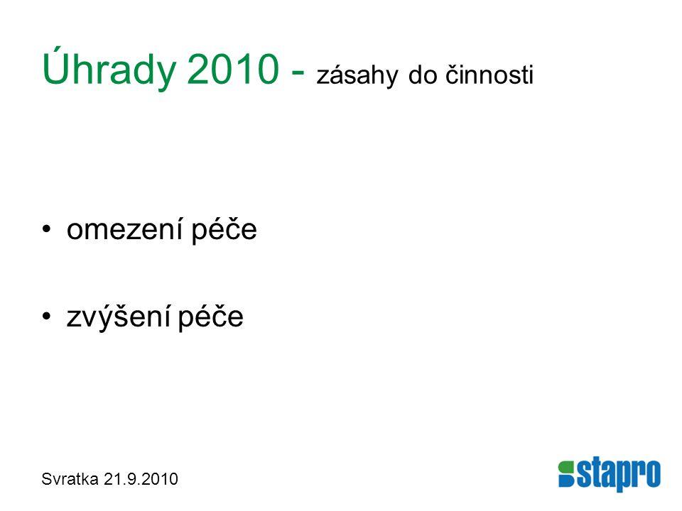 Úhrady 2010 - zásahy do činnosti