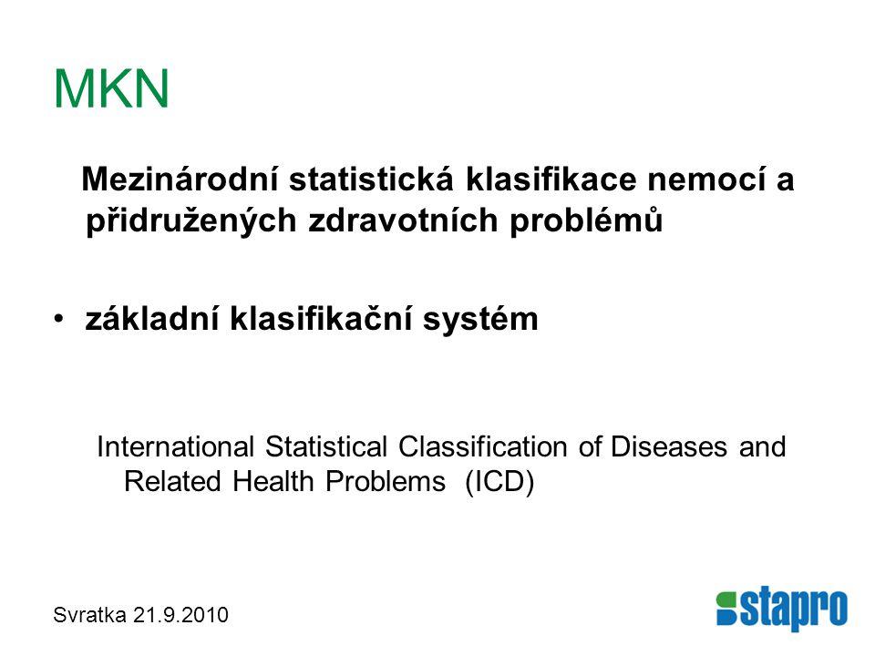 MKN Mezinárodní statistická klasifikace nemocí a přidružených zdravotních problémů. základní klasifikační systém.