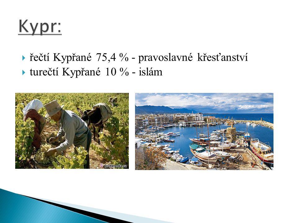 Kypr: řečtí Kypřané 75,4 % - pravoslavné křesťanství
