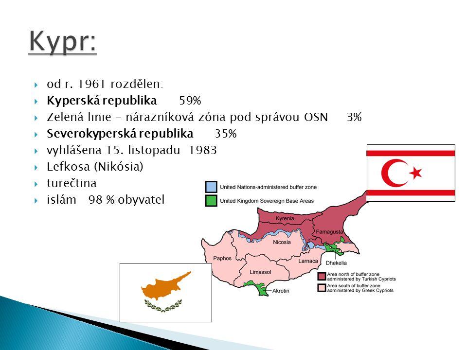 Kypr: od r. 1961 rozdělen: Kyperská republika 59%