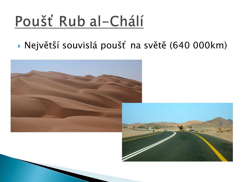 Poušť Rub al-Chálí Největší souvislá poušť na světě (640 000km)