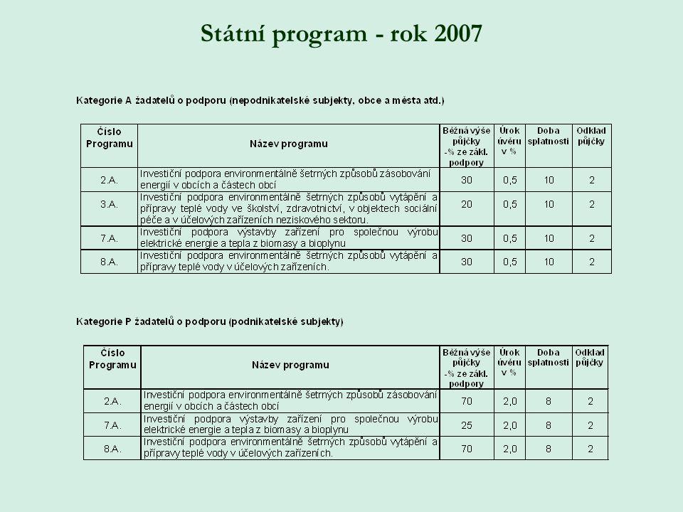 Státní program - rok 2007