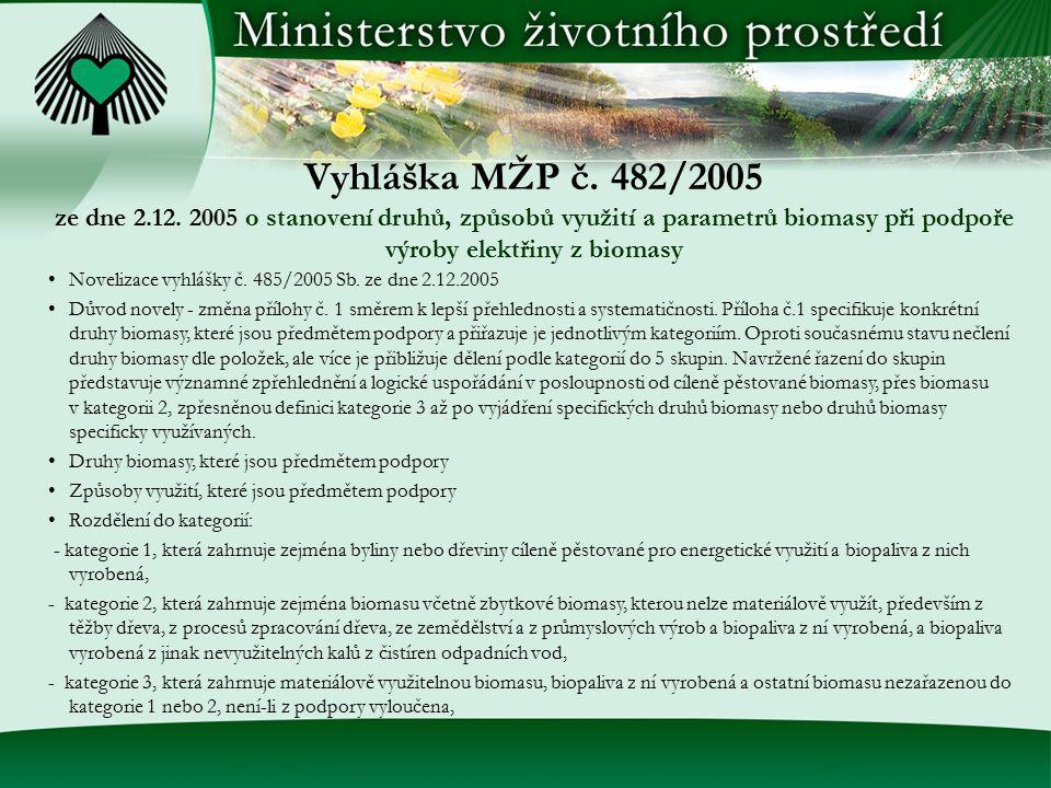 Vyhláška MŽP č. 482/2005 ze dne 2.12. 2005 o stanovení druhů, způsobů využití a parametrů biomasy při podpoře výroby elektřiny z biomasy