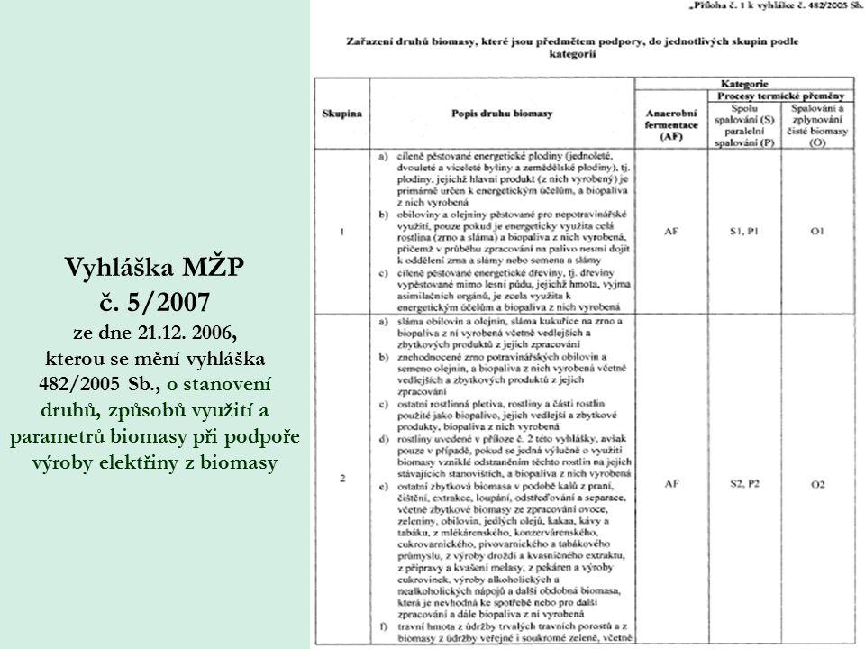 Vyhláška MŽP č. 5/2007 ze dne 21.12.