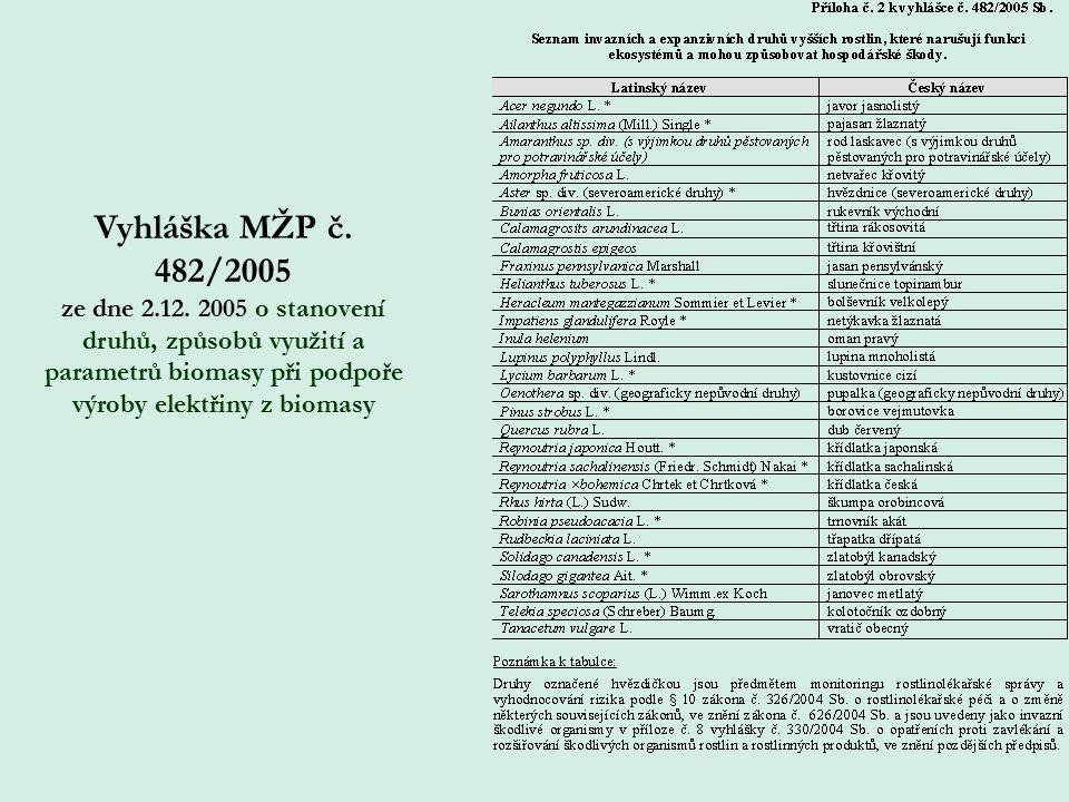 Vyhláška MŽP č. 482/2005 ze dne 2.12.
