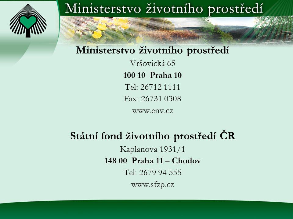 Ministerstvo životního prostředí Státní fond životního prostředí ČR