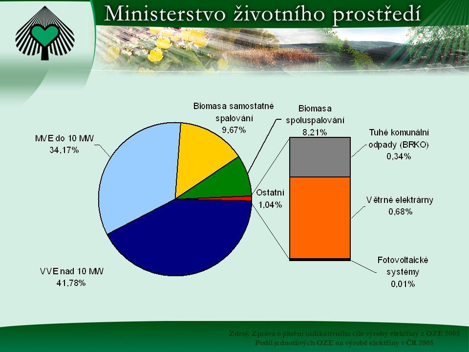 Zdroj: Zpráva o plnění indikativního cíle výroby elektřiny z OZE 2005 Podíl jednotlivých OZE na výrobě elektřiny v ČR 2005
