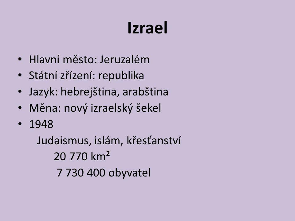 Izrael Hlavní město: Jeruzalém Státní zřízení: republika