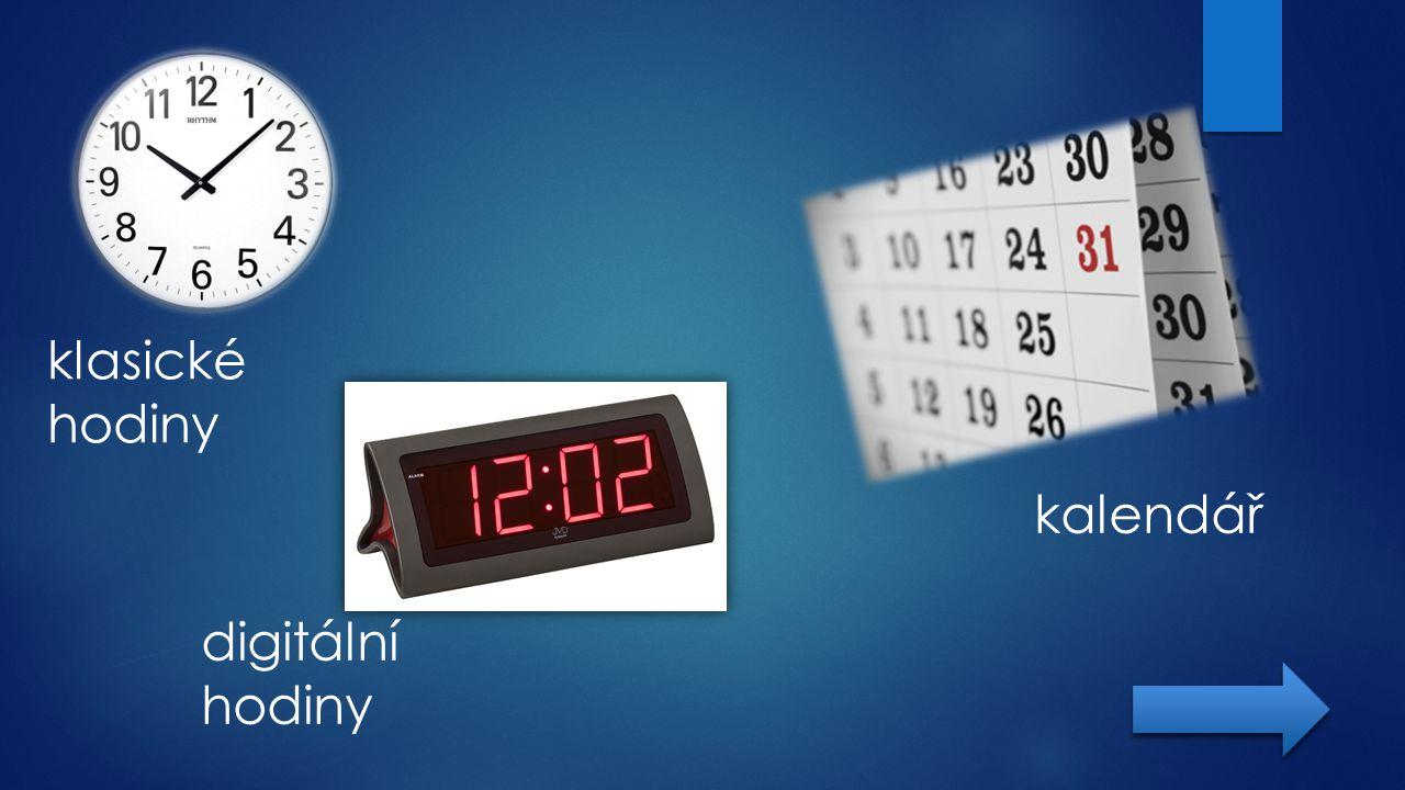 klasické hodiny kalendář digitální hodiny