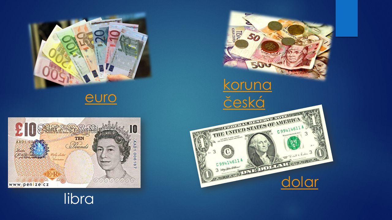 koruna česká euro dolar libra