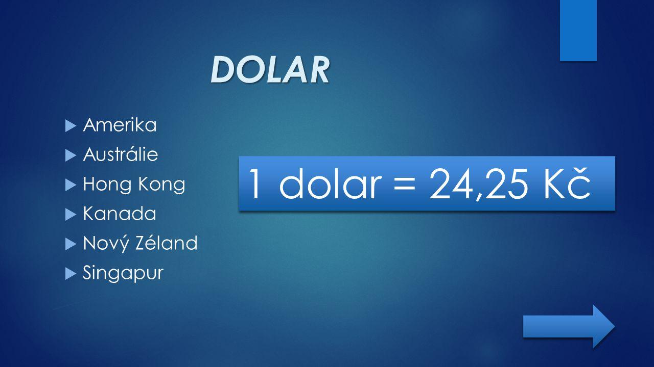 1 dolar = 24,25 Kč DOLAR Amerika Austrálie Hong Kong Kanada