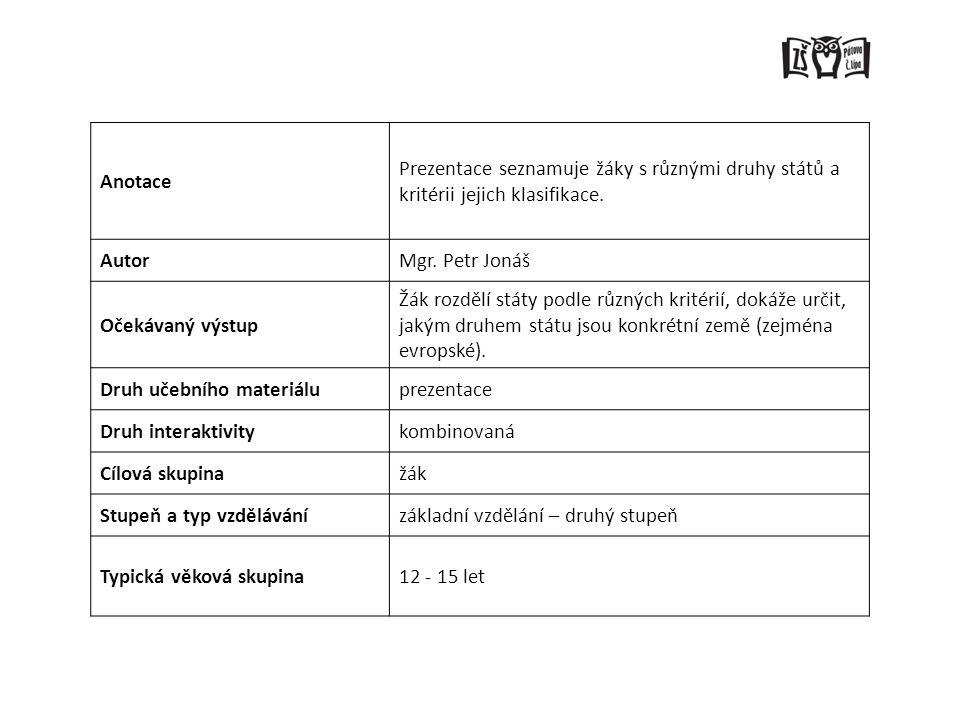 Anotace Prezentace seznamuje žáky s různými druhy států a kritérii jejich klasifikace. Autor. Mgr. Petr Jonáš.