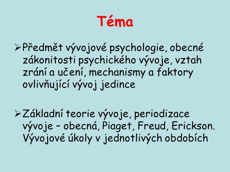 Téma Předmět vývojové psychologie, obecné zákonitosti psychického vývoje, vztah zrání a učení, mechanismy a faktory ovlivňující vývoj jedince.