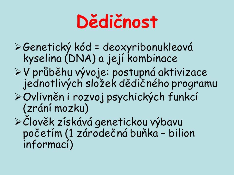 Dědičnost Genetický kód = deoxyribonukleová kyselina (DNA) a její kombinace.