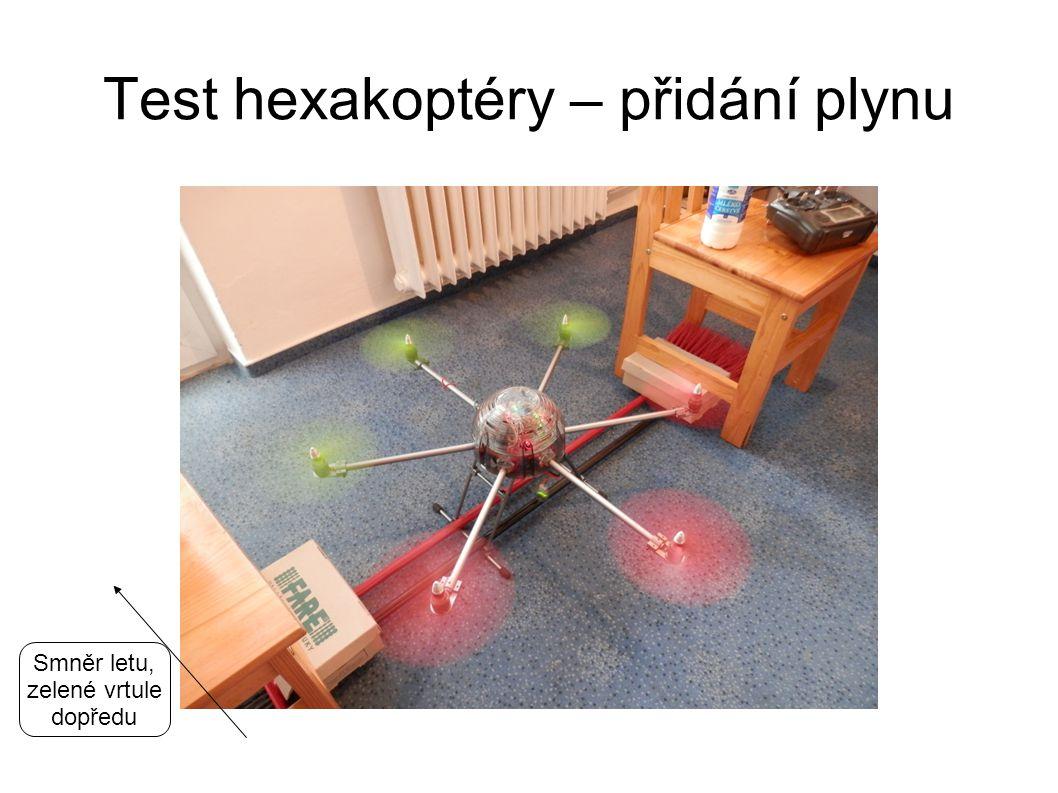 Test hexakoptéry – přidání plynu