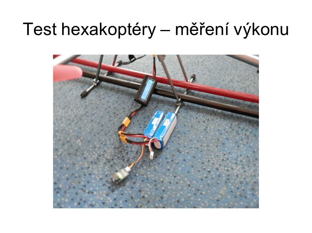 Test hexakoptéry – měření výkonu
