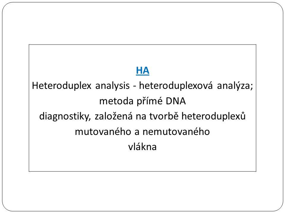 Heteroduplex analysis - heteroduplexová analýza; metoda přímé DNA