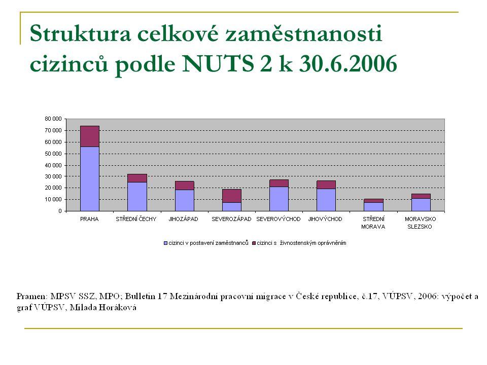 Struktura celkové zaměstnanosti cizinců podle NUTS 2 k 30.6.2006