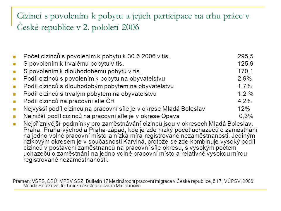 Cizinci s povolením k pobytu a jejich participace na trhu práce v České republice v 2. pololetí 2006