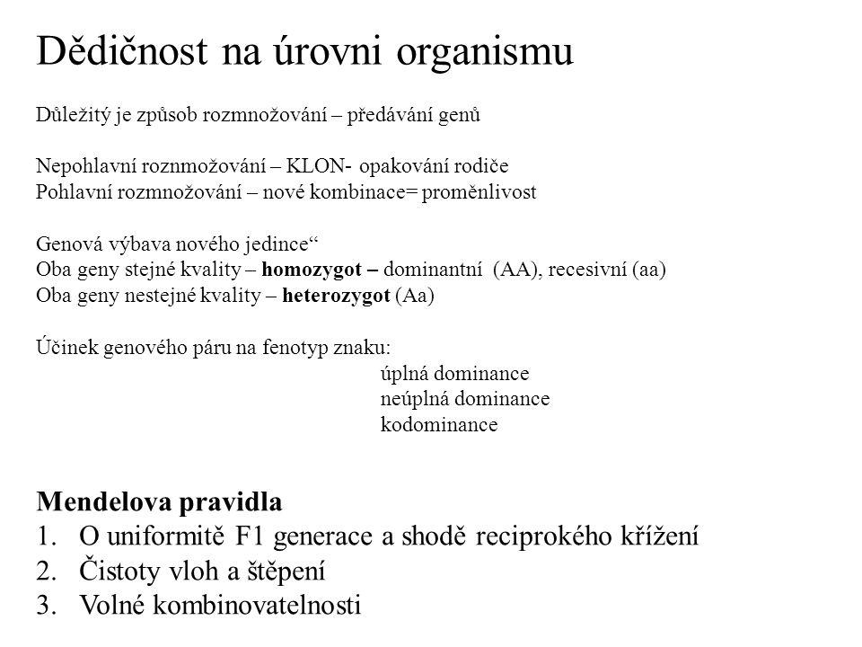 Dědičnost na úrovni organismu