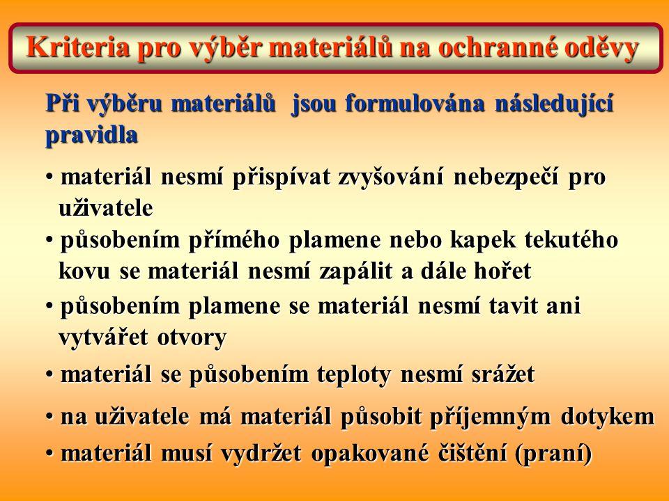Kriteria pro výběr materiálů na ochranné oděvy